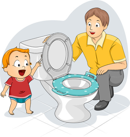 27668243 - illustration of a father teaching his toddler how to flush the toilet
